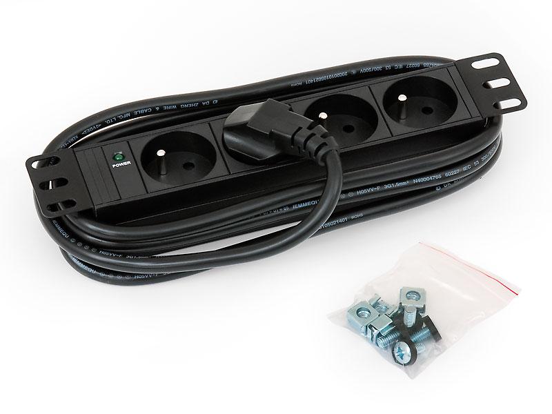 """RAB-PD-X90-C1 - 10"""" rozvodný panel 4xCZ zásuvka, kontrolka, 3x1,5mm 2m kabel"""