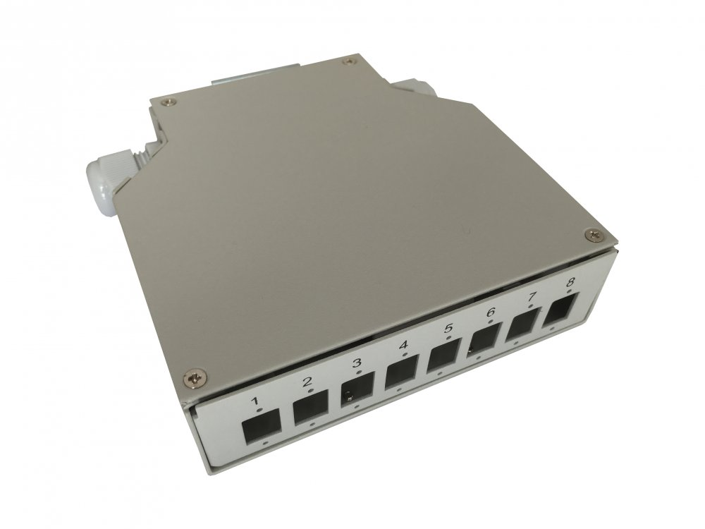 Opticky box na DIN listu 8x SC (LC)