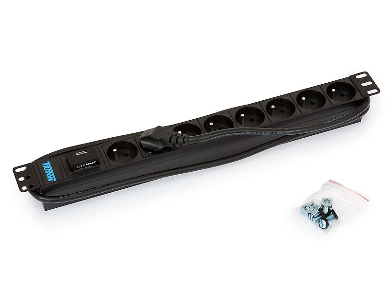 "RAB-PD-X07-A1 - 19"" rozvodný panel 8xCZ zásuvka,3x1,5mm,2m kabel,bleskojistka"