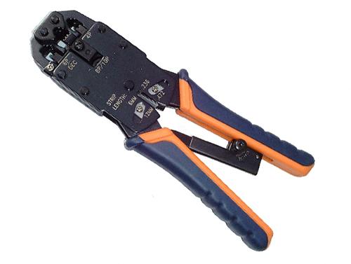 Kleště Excelent 4p4c, 6p6c, 8p8c s ráčnou + externí stripovač datových kabelů
