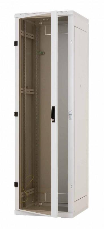 """RMA-27-A69 - 19""""rozvaděč Triton 27U š.600mm hl.900mm - šedý, skleněné dveře"""