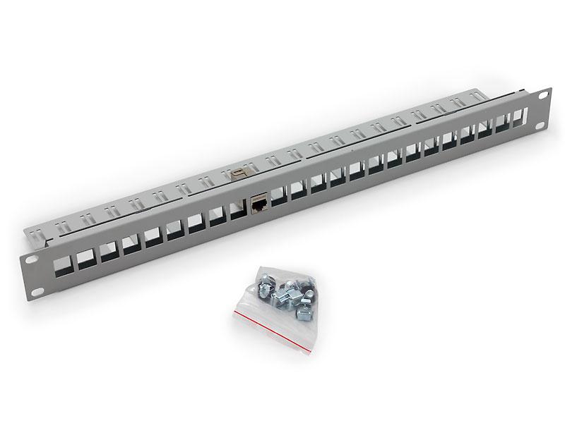 """RAX-PP-X10-A1 - 19"""" modulární patch panel pro max. 24 keystone modulů"""